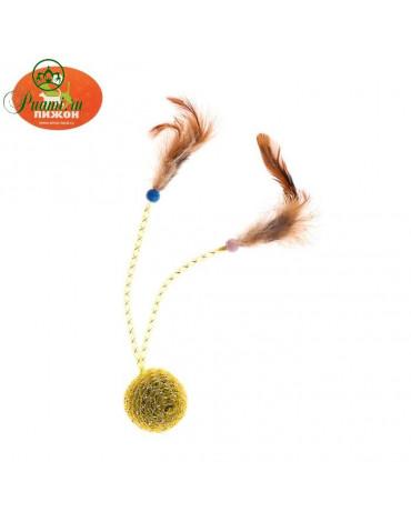 """Шар-погремушка""""Праздничный""""с 2 дразнилками и перьями 4,5см микс цветов 1487759"""