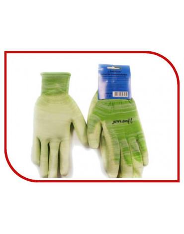 Перчатки нейлоновые с ПУ покрытием (Р-9) зелёные