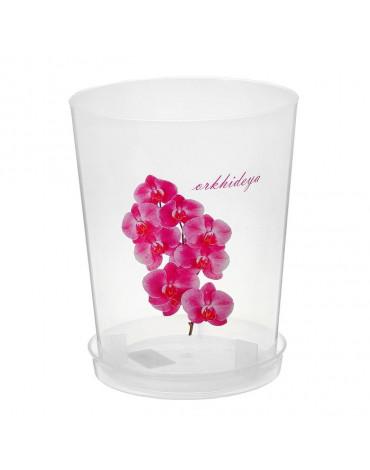 Горшок для орхидеи с поддоном 21,5*17, 3,5л прозрачный