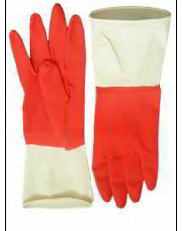 Перчатки хоз.латексные, красно-белые М UN-WJHDB6508