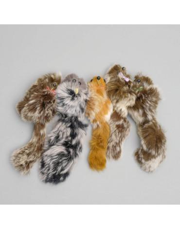 Мышь из натурального меха кролика, 6см микс цветов 1120798