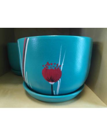 Горшок керамический с подд 4608/6  2,43л d18,5см,бирюза