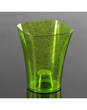 Кашпо Квадро (люкс) для Орхидей 1,3л прозрач-зелён d13см, h16,5см