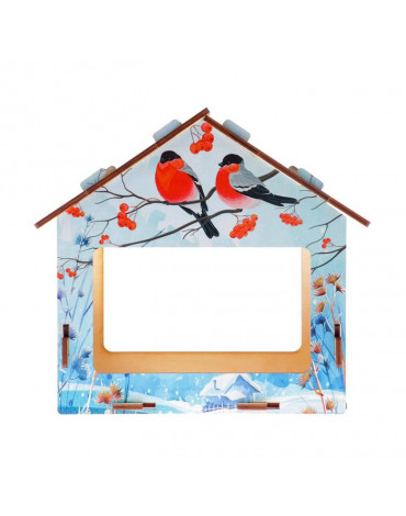 """Кормушка деревянная """"Снегири"""" с цветным рисунком 5094846"""