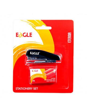 Степлер EAGLE 10л №10+500 скоб, комбинированный чёрный 1012/ч